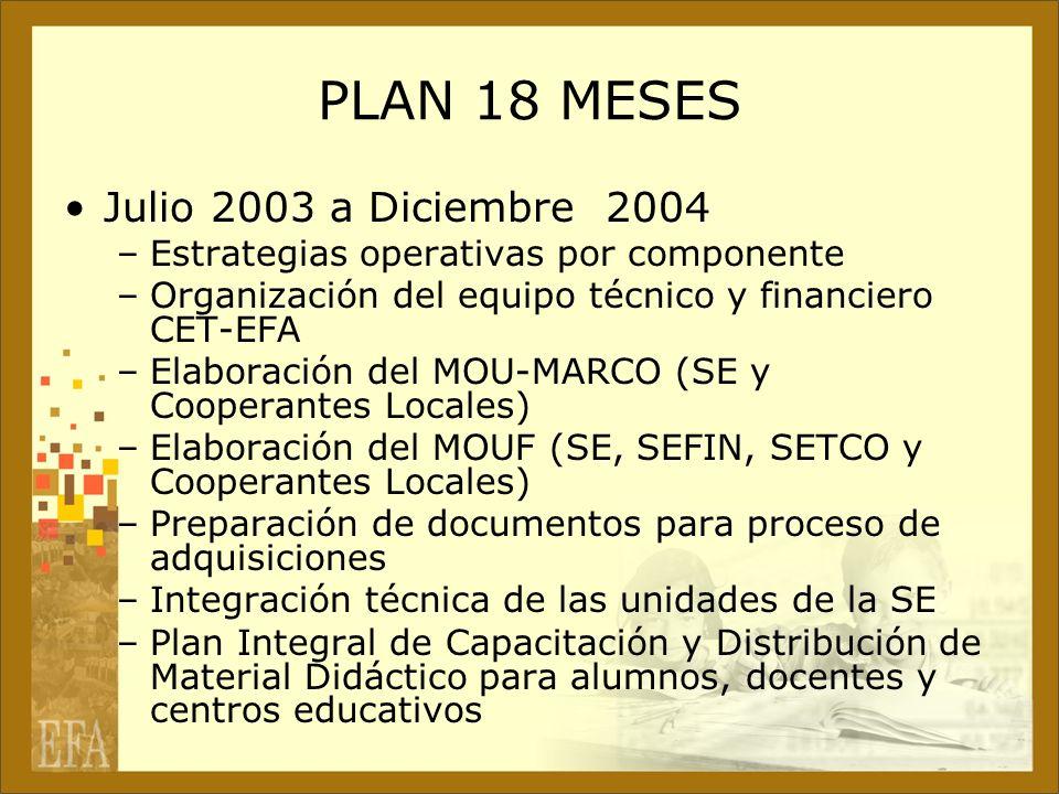 PLAN 18 MESES Julio 2003 a Diciembre 2004 –Estrategias operativas por componente –Organización del equipo técnico y financiero CET-EFA –Elaboración de