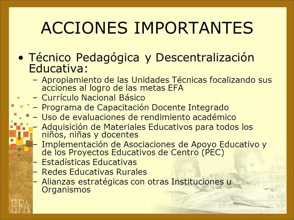 ACCIONES IMPORTANTES Técnico Pedagógica y Descentralización Educativa: –Apropiamiento de las Unidades Técnicas focalizando sus acciones al logro de la