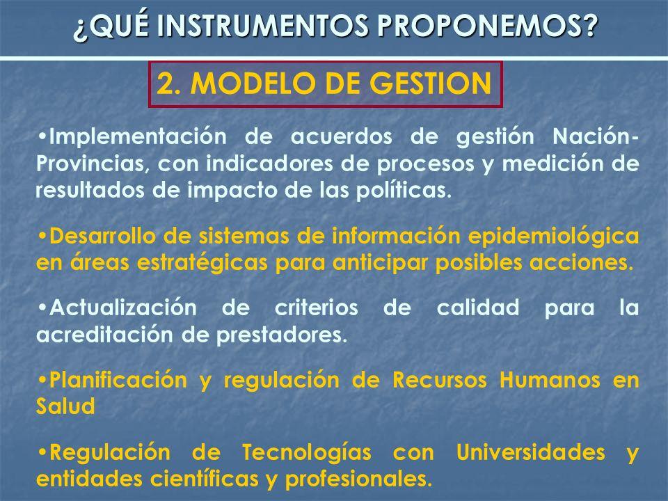 Implementación de acuerdos de gestión Nación- Provincias, con indicadores de procesos y medición de resultados de impacto de las políticas. Desarrollo
