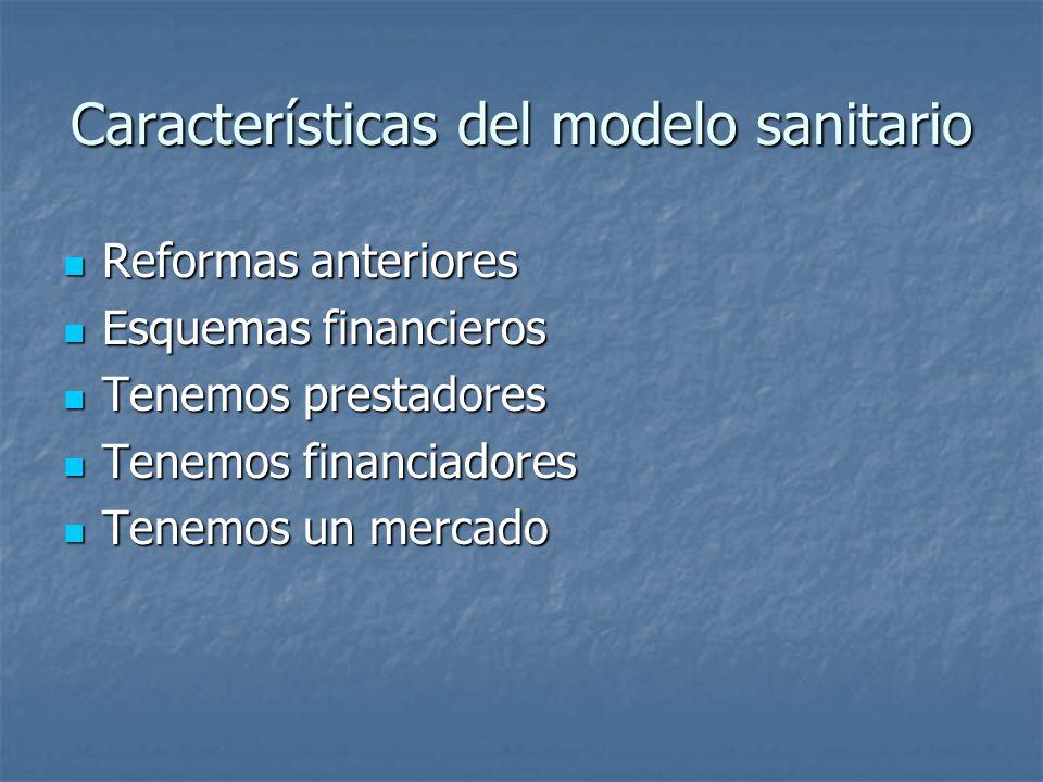 Características del modelo sanitario Reformas anteriores Reformas anteriores Esquemas financieros Esquemas financieros Tenemos prestadores Tenemos pre