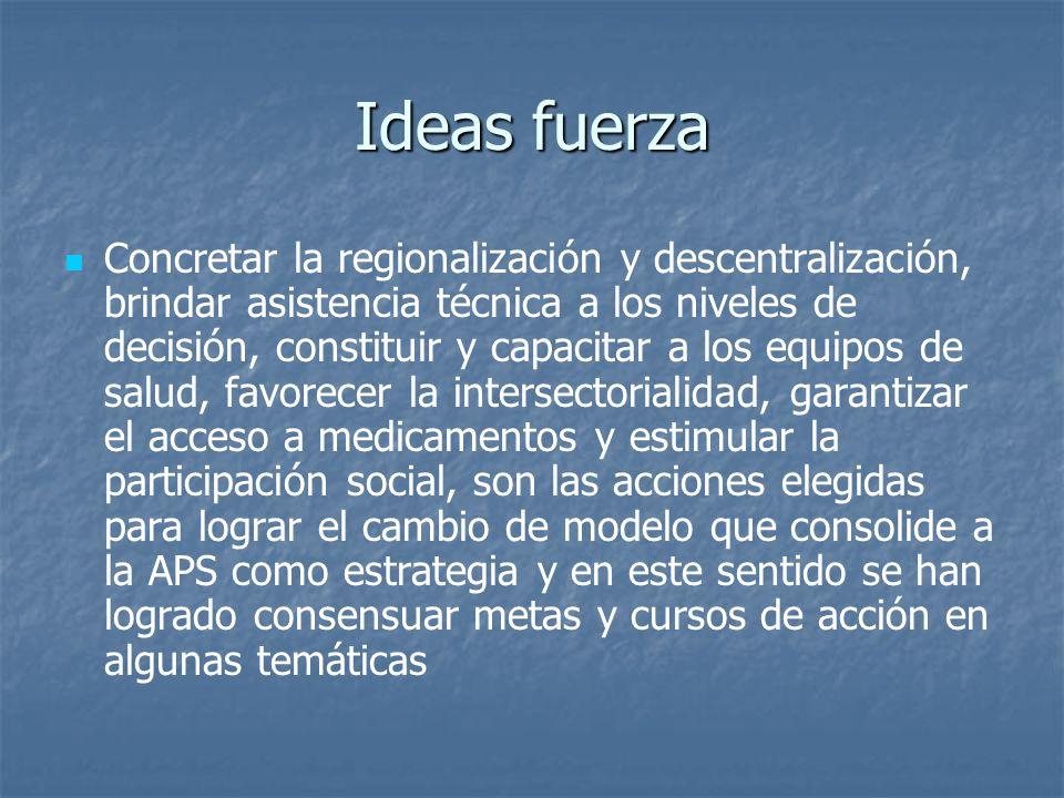 Ideas fuerza Concretar la regionalización y descentralización, brindar asistencia técnica a los niveles de decisión, constituir y capacitar a los equi