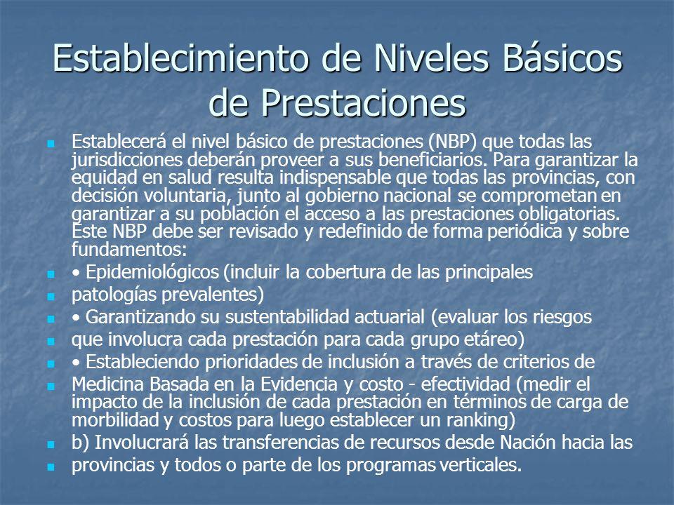 Establecimiento de Niveles Básicos de Prestaciones Establecerá el nivel básico de prestaciones (NBP) que todas las jurisdicciones deberán proveer a su