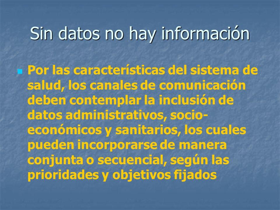Sin datos no hay información Por las características del sistema de salud, los canales de comunicación deben contemplar la inclusión de datos administ