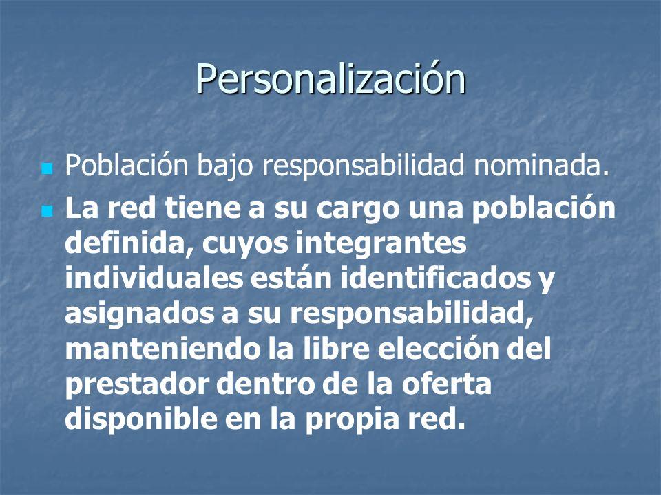 Personalización Población bajo responsabilidad nominada. La red tiene a su cargo una población definida, cuyos integrantes individuales están identifi