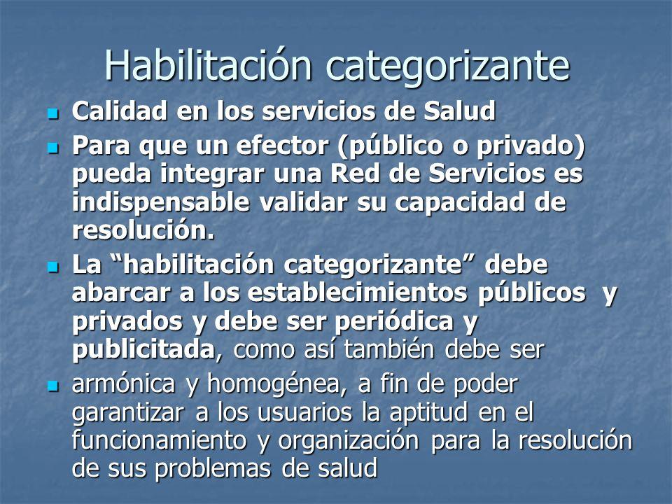 Habilitación categorizante Calidad en los servicios de Salud Calidad en los servicios de Salud Para que un efector (público o privado) pueda integrar