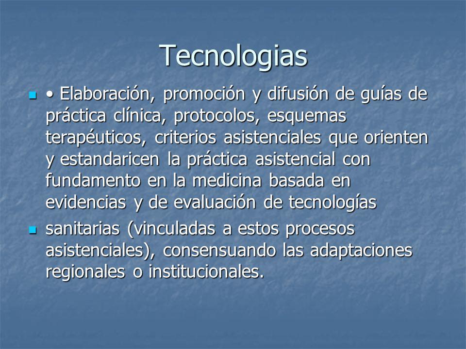 Tecnologias Elaboración, promoción y difusión de guías de práctica clínica, protocolos, esquemas terapéuticos, criterios asistenciales que orienten y
