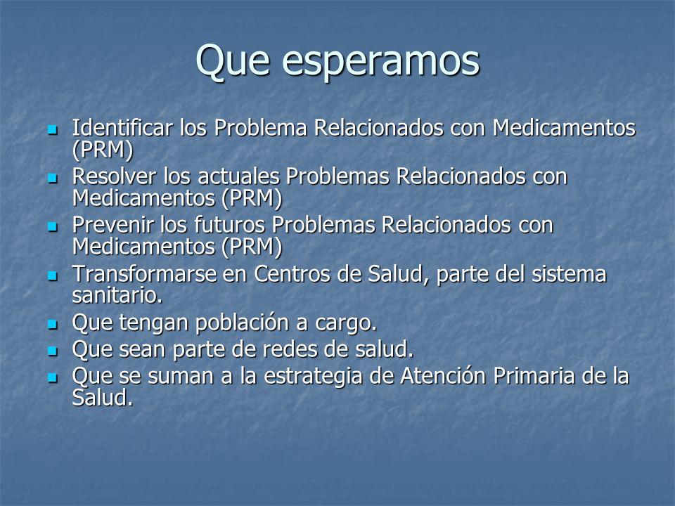 Que esperamos Identificar los Problema Relacionados con Medicamentos (PRM) Identificar los Problema Relacionados con Medicamentos (PRM) Resolver los a