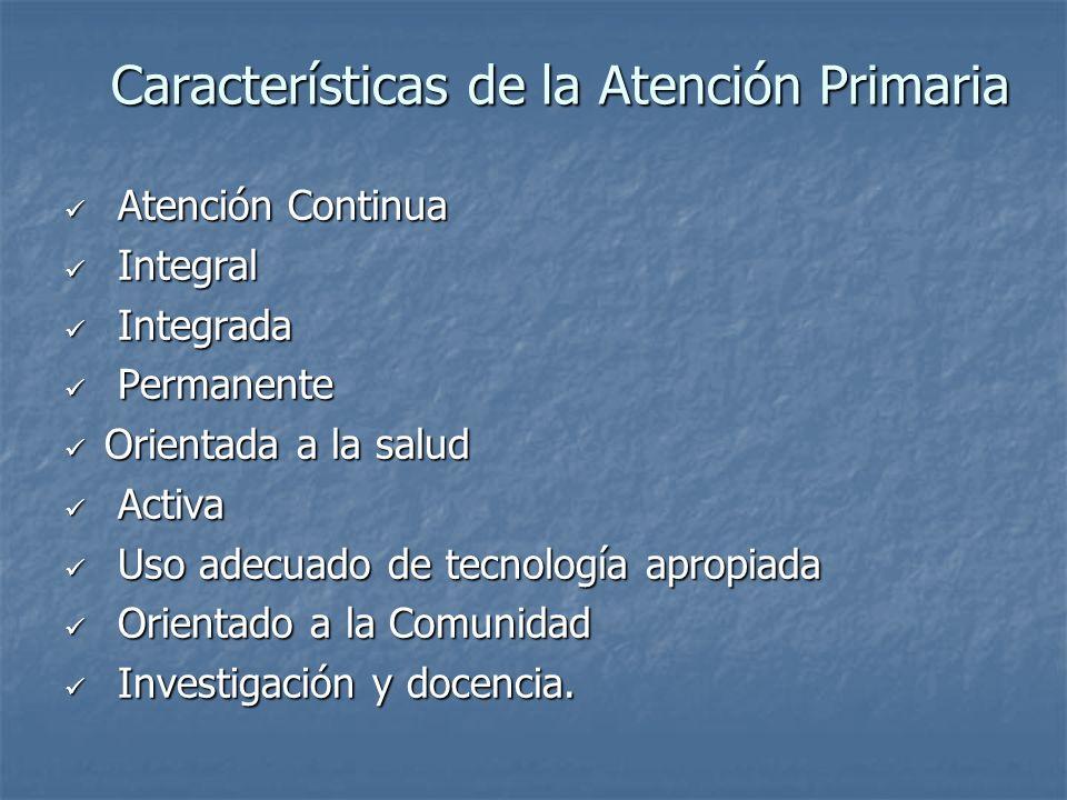 Características de la Atención Primaria Atención Continua Atención Continua Integral Integral Integrada Integrada Permanente Permanente Orientada a la