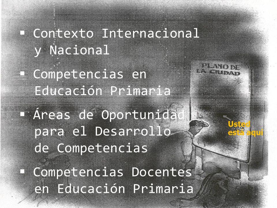 Usted está aquí Contexto Internacional y Nacional Competencias en Educación Primaria Áreas de Oportunidad para el Desarrollo de Competencias Competenc