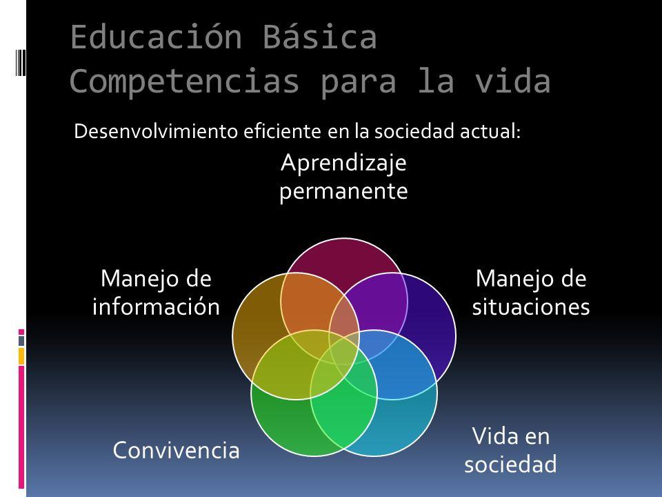 Desenvolvimiento eficiente en la sociedad actual: Educación Básica Competencias para la vida Aprendizaje permanente Manejo de situaciones Vida en soci
