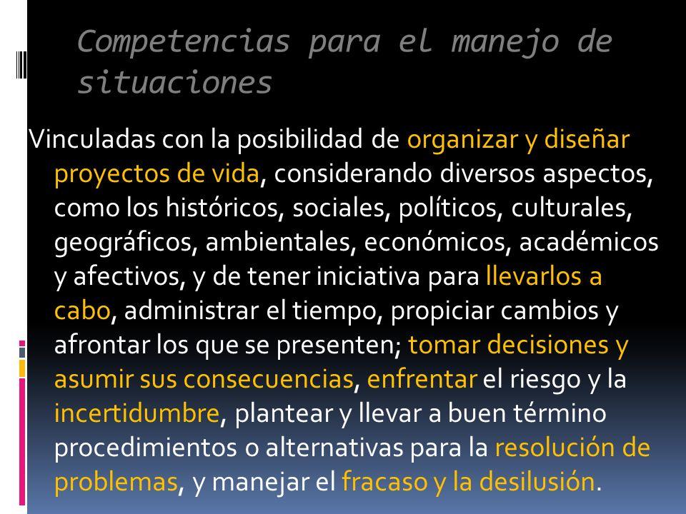 Competencias para el manejo de situaciones Vinculadas con la posibilidad de organizar y diseñar proyectos de vida, considerando diversos aspectos, com