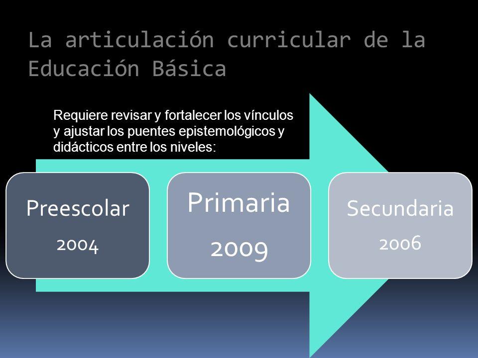 La articulación curricular de la Educación Básica Preescolar 2004 Primaria 2009 Secundaria 2006 Requiere revisar y fortalecer los vínculos y ajustar los puentes epistemológicos y didácticos entre los niveles: