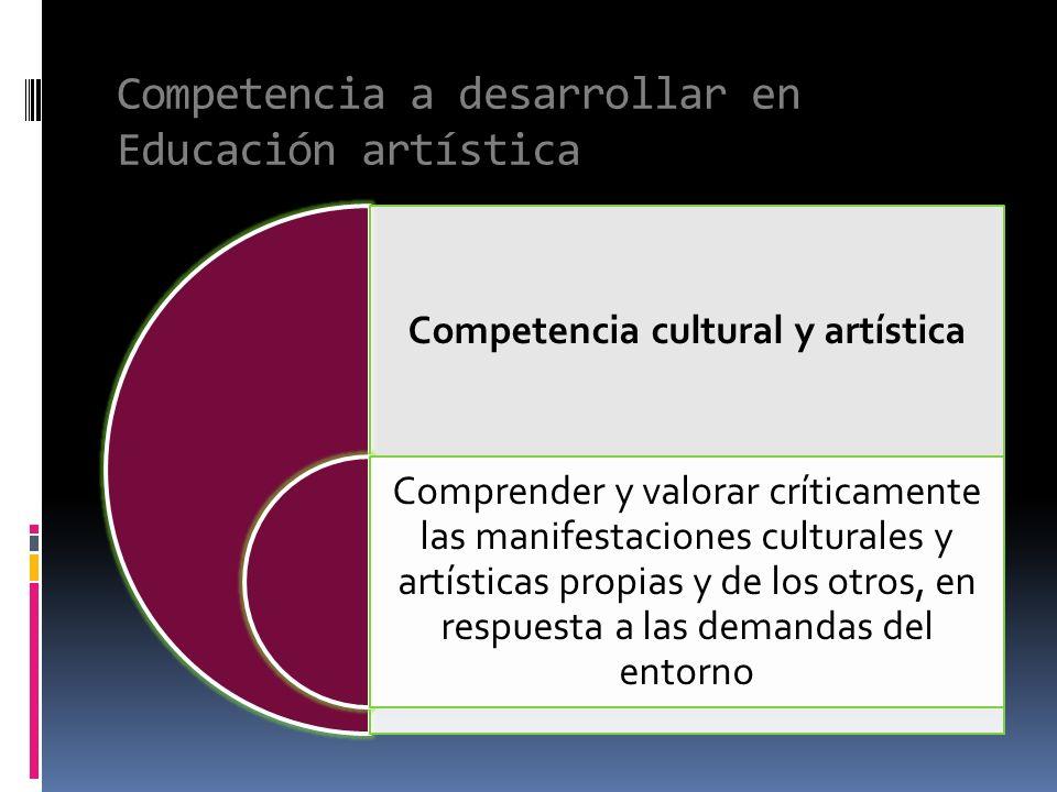 Competencia cultural y artística Comprender y valorar críticamente las manifestaciones culturales y artísticas propias y de los otros, en respuesta a las demandas del entorno Competencia a desarrollar en Educación artística