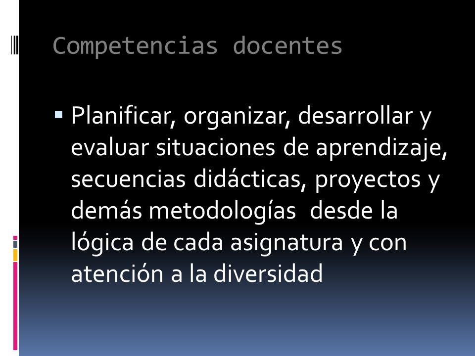 Competencias docentes Planificar, organizar, desarrollar y evaluar situaciones de aprendizaje, secuencias didácticas, proyectos y demás metodologías desde la lógica de cada asignatura y con atención a la diversidad