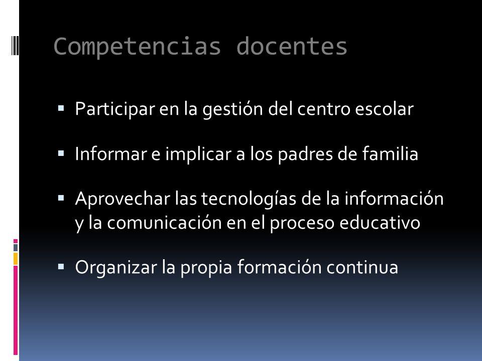 Competencias docentes Participar en la gestión del centro escolar Informar e implicar a los padres de familia Aprovechar las tecnologías de la información y la comunicación en el proceso educativo Organizar la propia formación continua