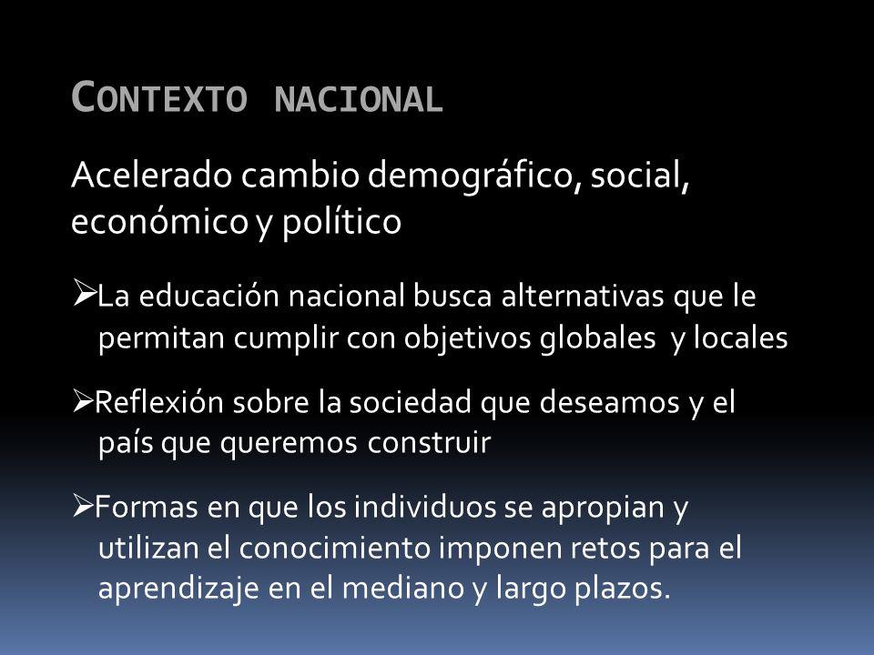 C ONTEXTO NACIONAL Acelerado cambio demográfico, social, económico y político La educación nacional busca alternativas que le permitan cumplir con obj