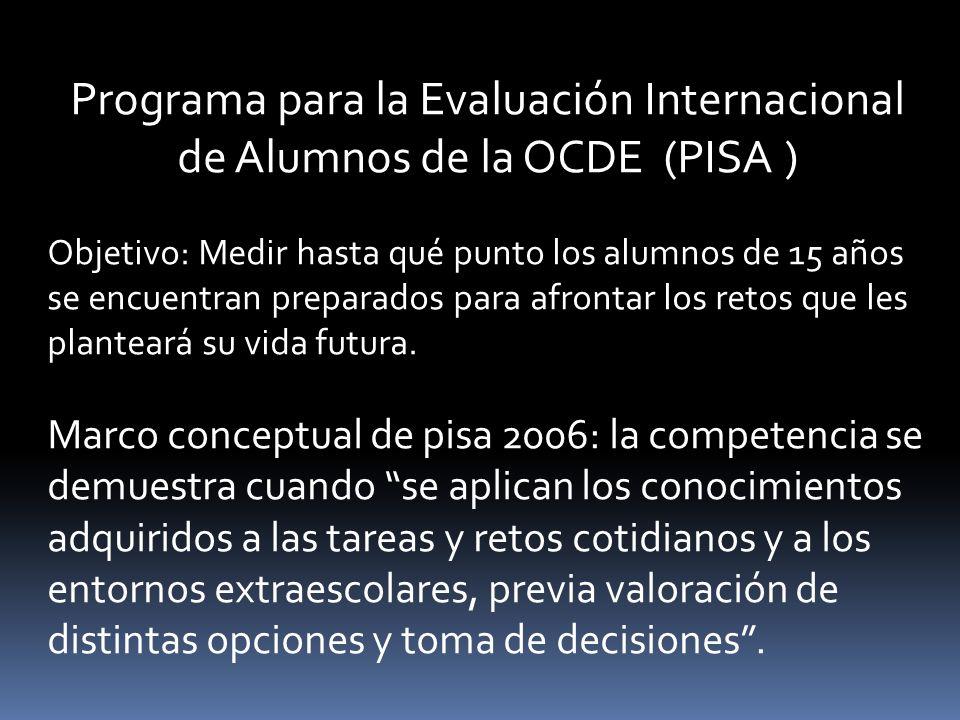 Programa para la Evaluación Internacional de Alumnos de la OCDE (PISA ) Objetivo: Medir hasta qué punto los alumnos de 15 años se encuentran preparados para afrontar los retos que les planteará su vida futura.