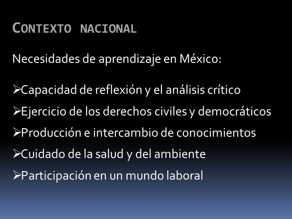 C ONTEXTO NACIONAL Necesidades de aprendizaje en México: Capacidad de reflexión y el análisis crítico Ejercicio de los derechos civiles y democráticos Producción e intercambio de conocimientos Cuidado de la salud y del ambiente Participación en un mundo laboral