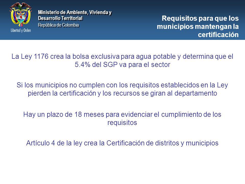 Ministerio de Ambiente, Vivienda y Desarrollo Territorial República de Colombia Ministerio de Ambiente, Vivienda y Desarrollo Territorial República de Colombia Ministerio de Ambiente, Vivienda y Desarrollo Territorial República de Colombia Ministerio de Ambiente, Vivienda y Desarrollo Territorial República de Colombia Requisitos para que los municipios mantengan la certificación La Ley 1176 crea la bolsa exclusiva para agua potable y determina que el 5.4% del SGP va para el sector Si los municipios no cumplen con los requisitos establecidos en la Ley pierden la certificación y los recursos se giran al departamento Hay un plazo de 18 meses para evidenciar el cumplimiento de los requisitos Artículo 4 de la ley crea la Certificación de distritos y municipios