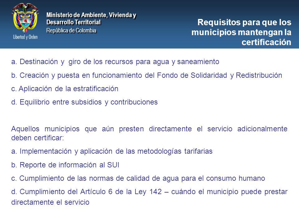 Ministerio de Ambiente, Vivienda y Desarrollo Territorial República de Colombia Ministerio de Ambiente, Vivienda y Desarrollo Territorial República de Colombia Ministerio de Ambiente, Vivienda y Desarrollo Territorial República de Colombia Ministerio de Ambiente, Vivienda y Desarrollo Territorial República de Colombia Requisitos para que los municipios mantengan la certificación a.