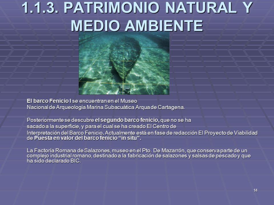 14 1.1.3. PATRIMONIO NATURAL Y MEDIO AMBIENTE El barco Fenicio I se encuentran en el Museo Nacional de Arqueología Marina Subacuática Arqua de Cartage