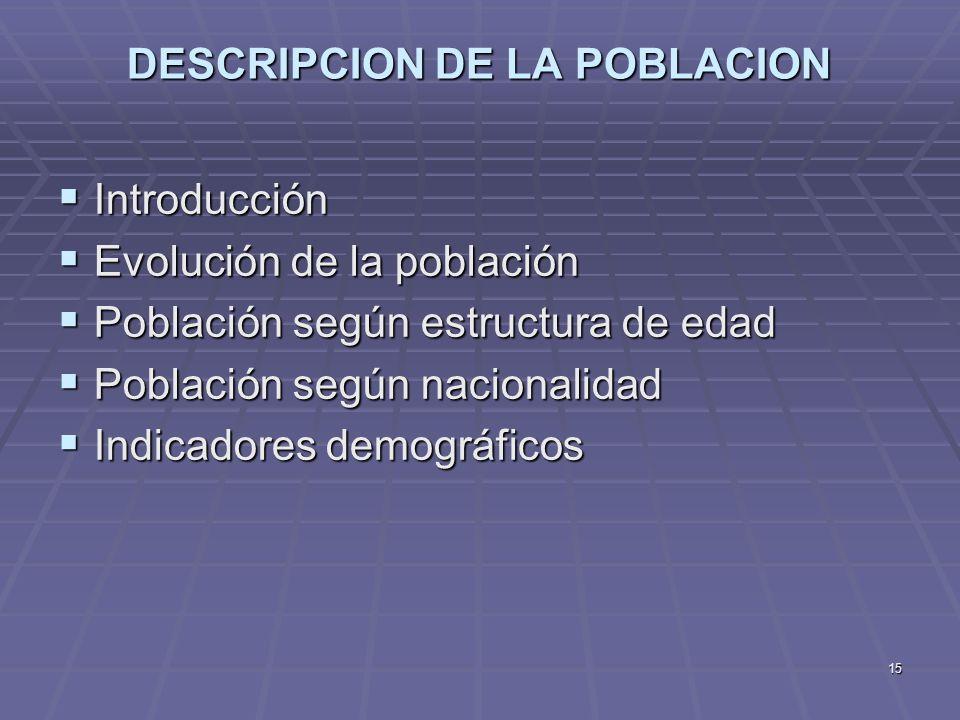 15 DESCRIPCION DE LA POBLACION Introducción Introducción Evolución de la población Evolución de la población Población según estructura de edad Poblac