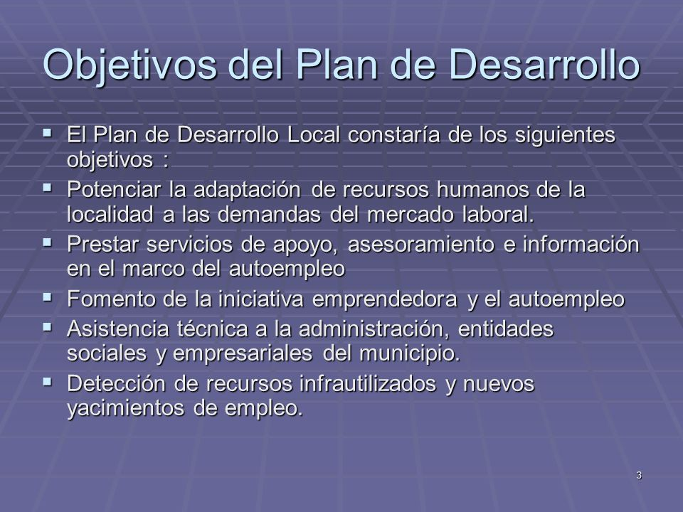 3 Objetivos del Plan de Desarrollo El Plan de Desarrollo Local constaría de los siguientes objetivos : El Plan de Desarrollo Local constaría de los si
