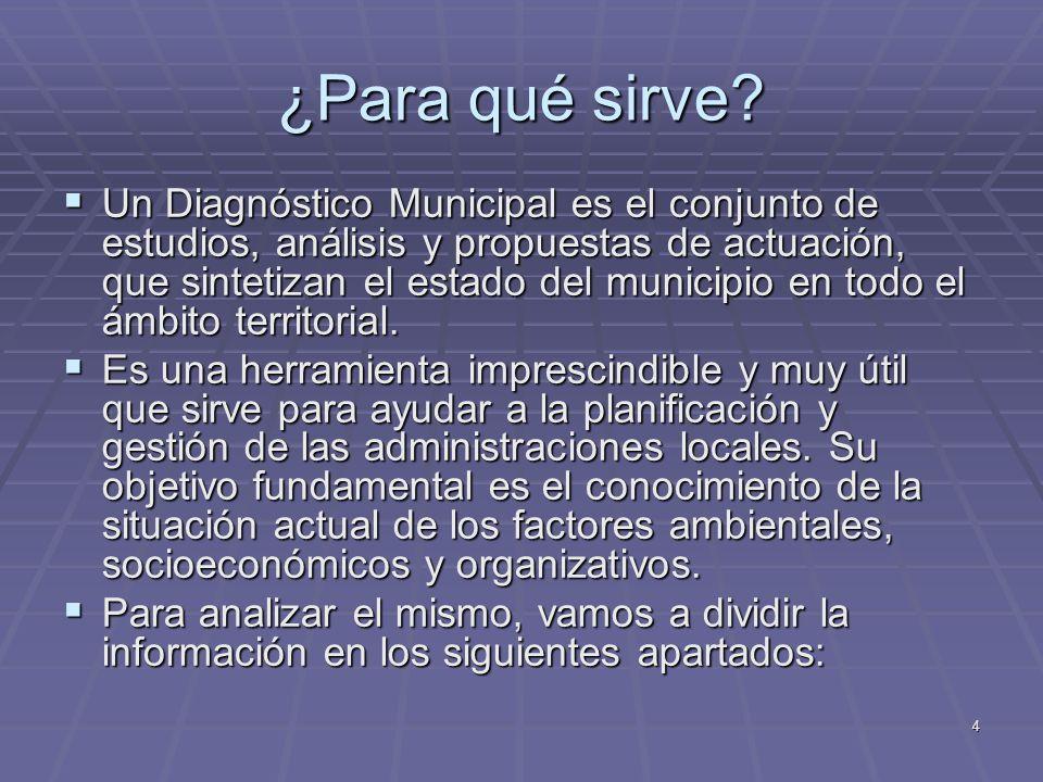 4 ¿Para qué sirve? Un Diagnóstico Municipal es el conjunto de estudios, análisis y propuestas de actuación, que sintetizan el estado del municipio en