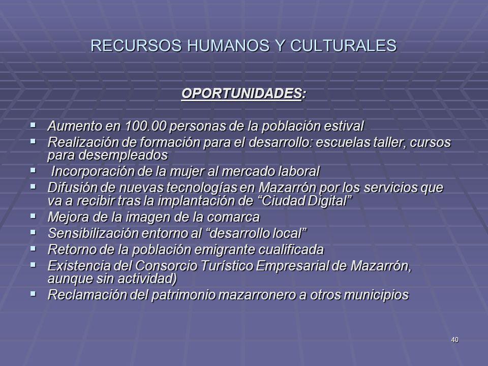 40 RECURSOS HUMANOS Y CULTURALES OPORTUNIDADES: Aumento en 100.00 personas de la población estival Aumento en 100.00 personas de la población estival