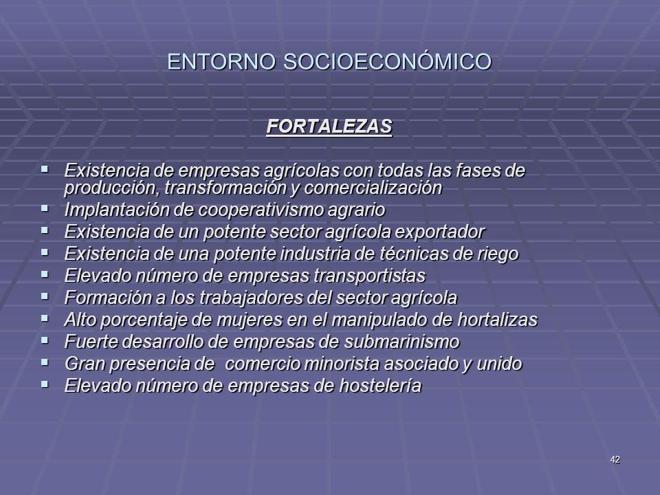 42 ENTORNO SOCIOECONÓMICO FORTALEZAS Existencia de empresas agrícolas con todas las fases de producción, transformación y comercialización Existencia