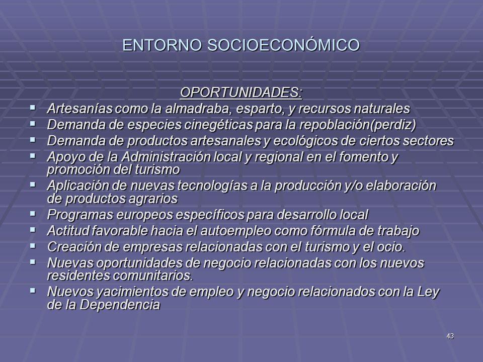 43 ENTORNO SOCIOECONÓMICO OPORTUNIDADES: Artesanías como la almadraba, esparto, y recursos naturales Artesanías como la almadraba, esparto, y recursos