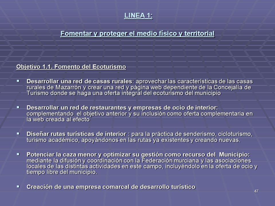 47 LINEA 1: Fomentar y proteger el medio físico y territorial LINEA 1: Fomentar y proteger el medio físico y territorial Objetivo 1.1. Fomento del Eco