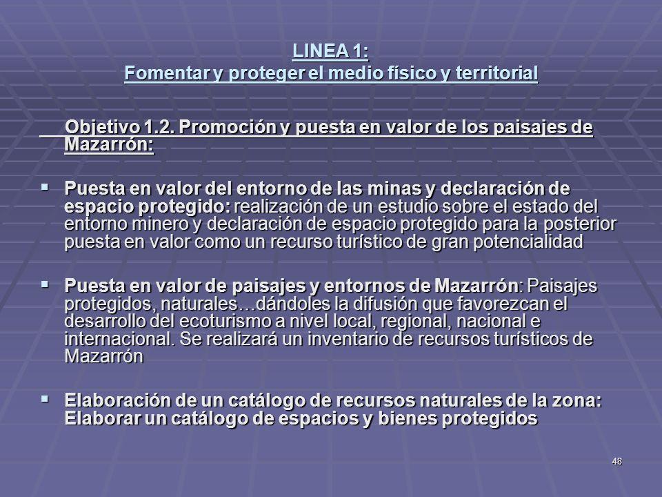 48 LINEA 1: Fomentar y proteger el medio físico y territorial Objetivo 1.2. Promoción y puesta en valor de los paisajes de Mazarrón: Objetivo 1.2. Pro