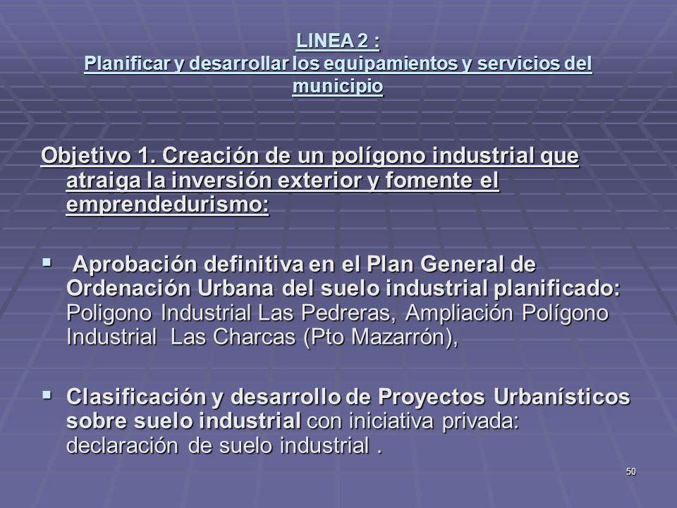 50 LINEA 2 : Planificar y desarrollar los equipamientos y servicios del municipio Objetivo 1. Creación de un polígono industrial que atraiga la invers
