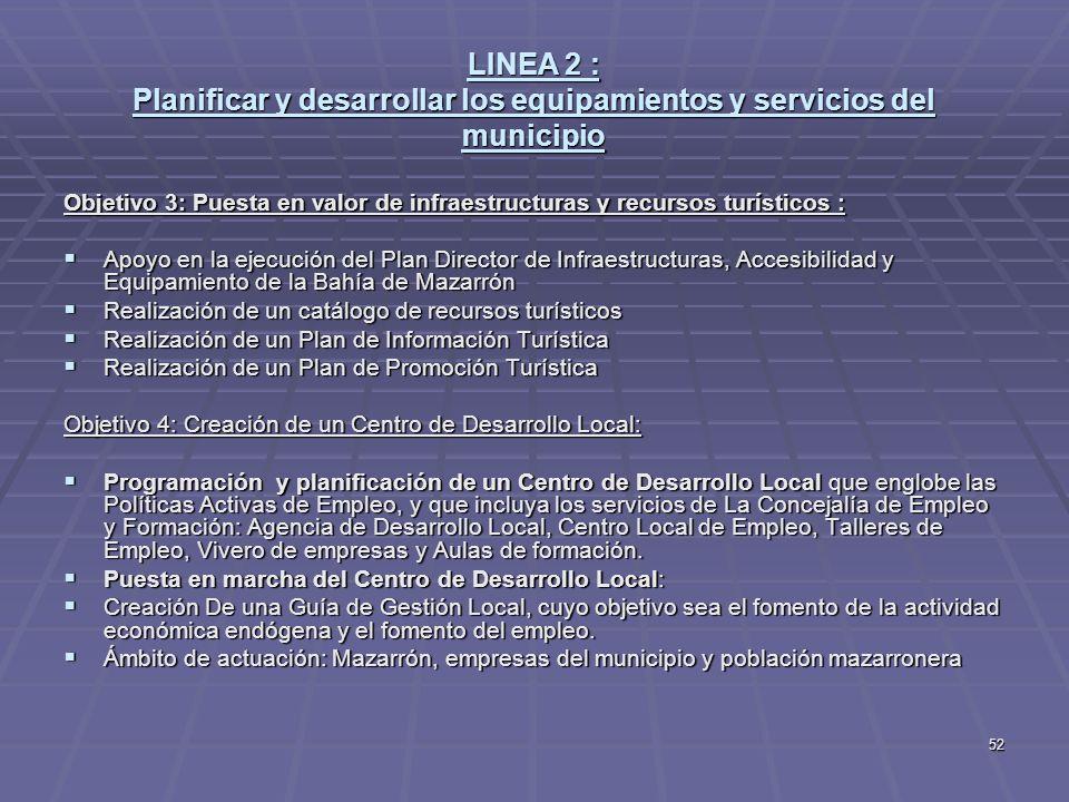 52 LINEA 2 : Planificar y desarrollar los equipamientos y servicios del municipio Objetivo 3: Puesta en valor de infraestructuras y recursos turístico