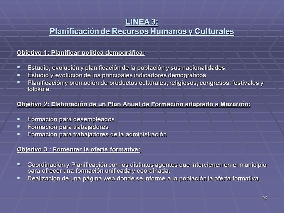 53 LINEA 3: Planificación de Recursos Humanos y Culturales Objetivo 1: Planificar política demográfica: Estudio, evolución y planificación de la pobla
