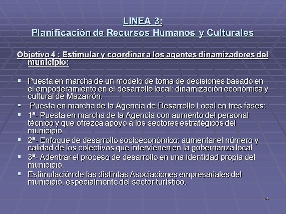 54 LINEA 3: Planificación de Recursos Humanos y Culturales Objetivo 4 : Estimular y coordinar a los agentes dinamizadores del municipio: Puesta en mar