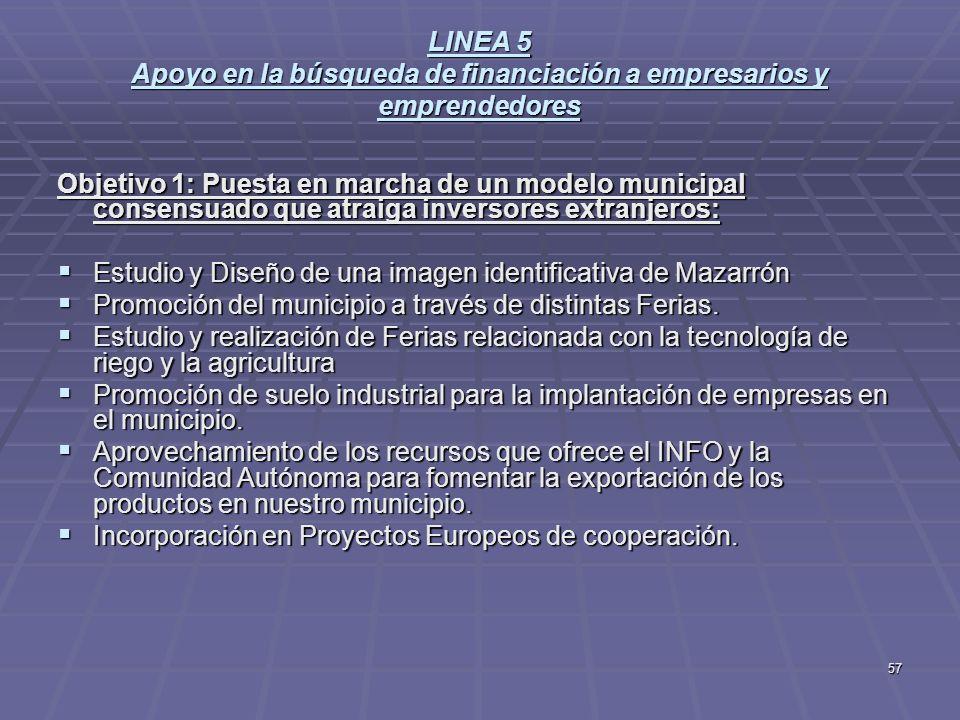 57 LINEA 5 Apoyo en la búsqueda de financiación a empresarios y emprendedores Objetivo 1: Puesta en marcha de un modelo municipal consensuado que atra