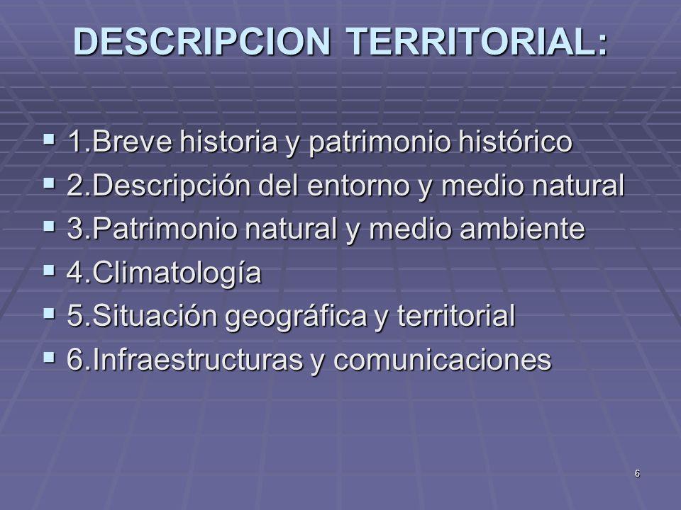 6 DESCRIPCION TERRITORIAL: 1.Breve historia y patrimonio histórico 1.Breve historia y patrimonio histórico 2.Descripción del entorno y medio natural 2