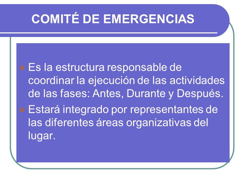 COMITÉ DE EMERGENCIAS Es la estructura responsable de coordinar la ejecución de las actividades de las fases: Antes, Durante y Después. Estará integra