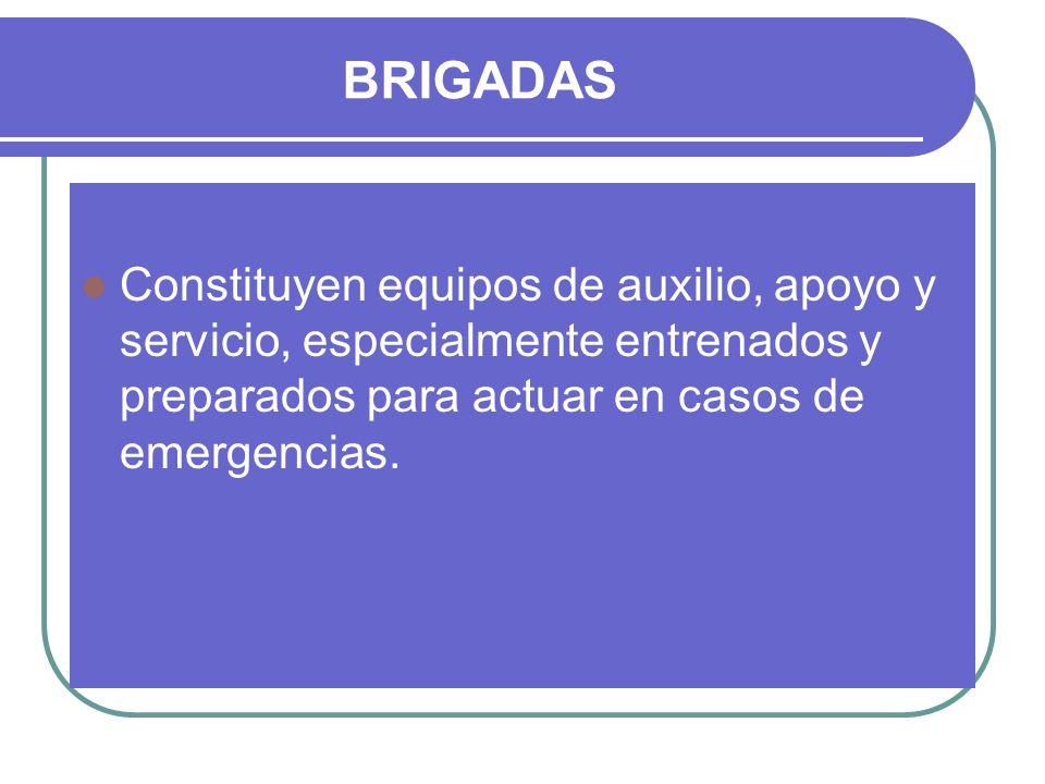 BRIGADAS Constituyen equipos de auxilio, apoyo y servicio, especialmente entrenados y preparados para actuar en casos de emergencias.