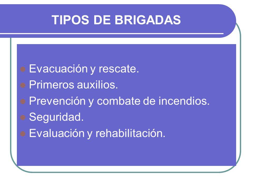 TIPOS DE BRIGADAS Evacuación y rescate. Primeros auxilios. Prevención y combate de incendios. Seguridad. Evaluación y rehabilitación.