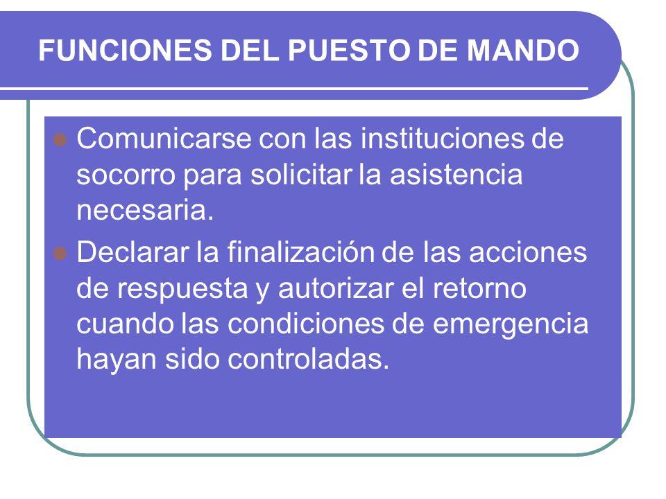 FUNCIONES DEL PUESTO DE MANDO Comunicarse con las instituciones de socorro para solicitar la asistencia necesaria. Declarar la finalización de las acc