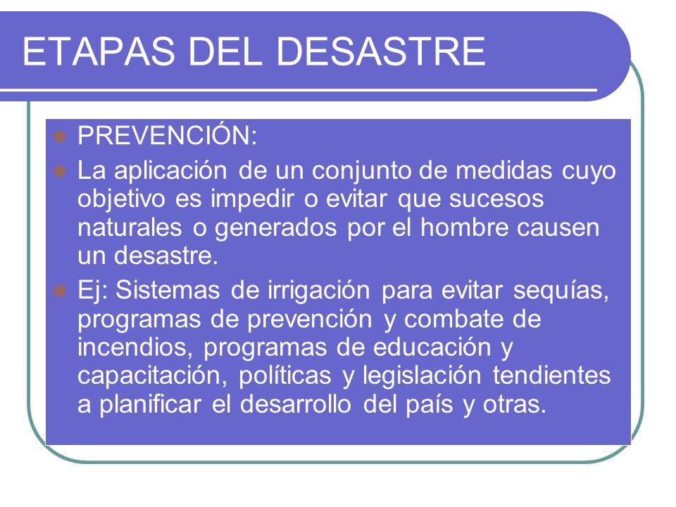 ETAPAS DEL DESASTRE PREVENCIÓN: La aplicación de un conjunto de medidas cuyo objetivo es impedir o evitar que sucesos naturales o generados por el hom