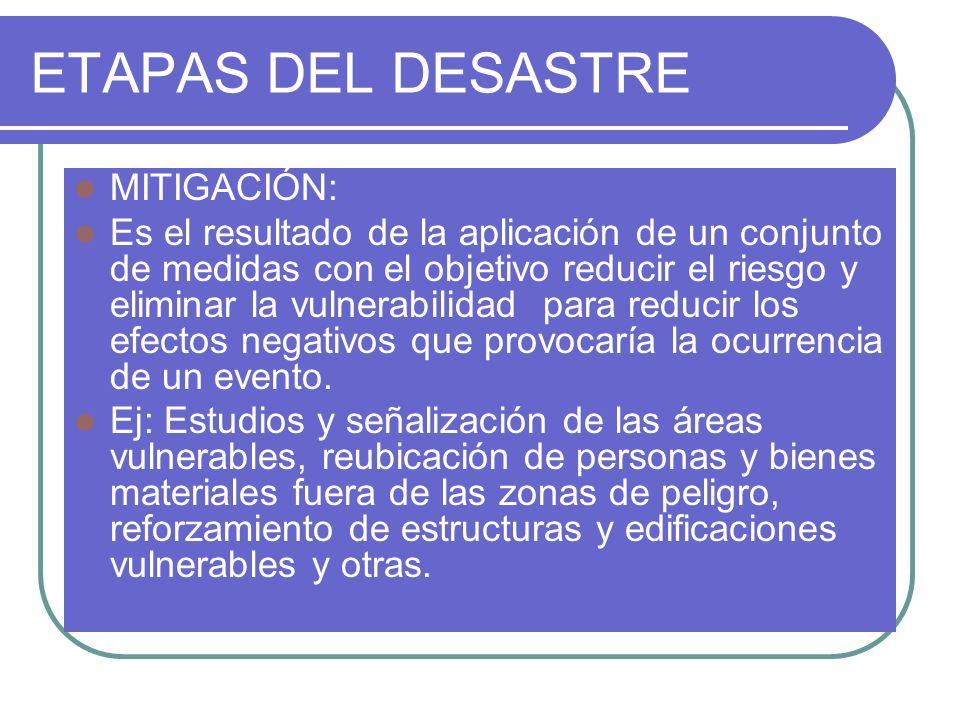 ETAPAS DEL DESASTRE MITIGACIÓN: Es el resultado de la aplicación de un conjunto de medidas con el objetivo reducir el riesgo y eliminar la vulnerabili