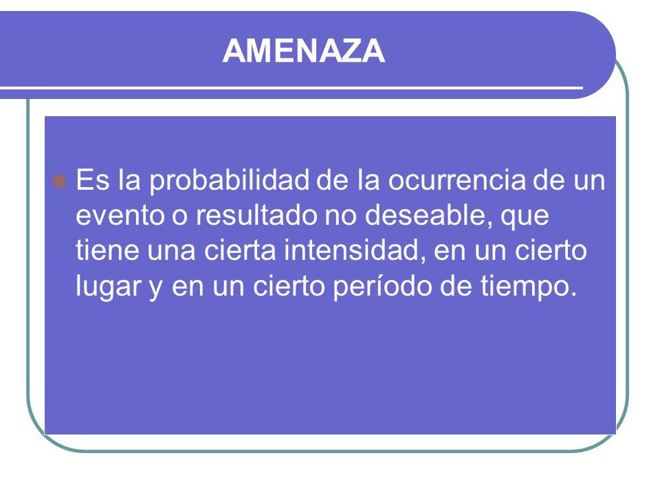 AMENAZA Es la probabilidad de la ocurrencia de un evento o resultado no deseable, que tiene una cierta intensidad, en un cierto lugar y en un cierto p