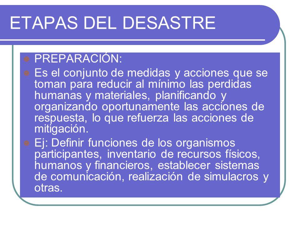 ETAPAS DEL DESASTRE PREPARACIÓN: Es el conjunto de medidas y acciones que se toman para reducir al mínimo las perdidas humanas y materiales, planifica
