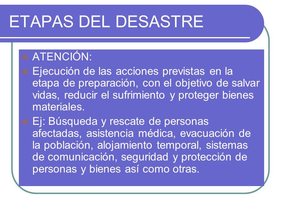 ETAPAS DEL DESASTRE ATENCIÓN: Ejecución de las acciones previstas en la etapa de preparación, con el objetivo de salvar vidas, reducir el sufrimiento