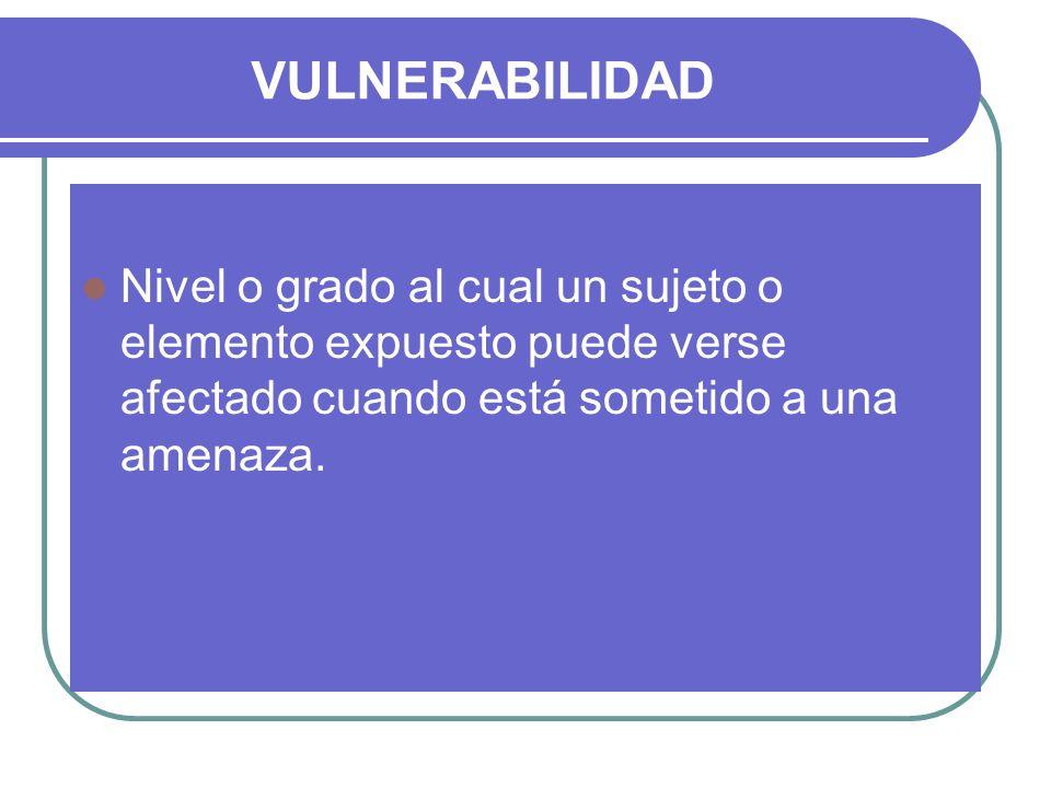 VULNERABILIDAD Nivel o grado al cual un sujeto o elemento expuesto puede verse afectado cuando está sometido a una amenaza.