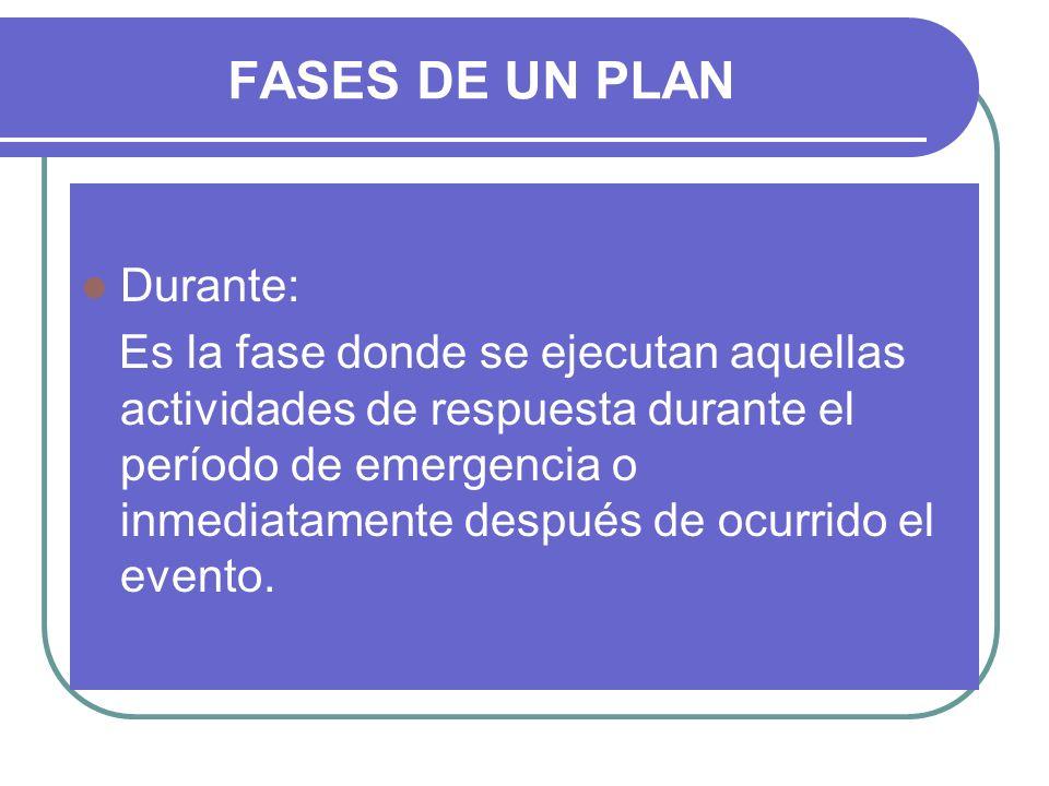 FASES DE UN PLAN Durante: Es la fase donde se ejecutan aquellas actividades de respuesta durante el período de emergencia o inmediatamente después de